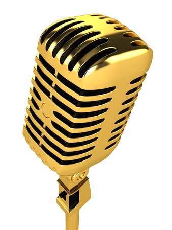 gold record: Gold vintage microphone