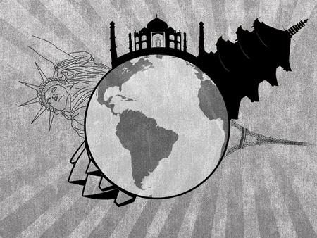 Grungy travel illustration illustration