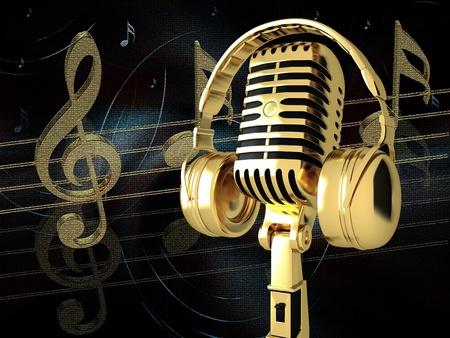 Micrófono con auriculares en el fondo