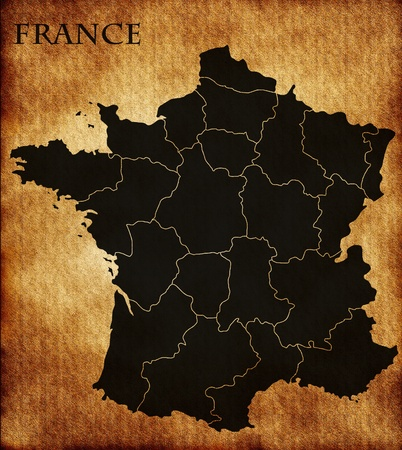 francais: France map with regions Stock Photo