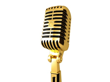 Gold vintage microphone  photo