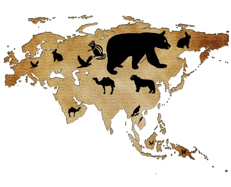 eurasia: Map of Eurasia with pictures of animals Stock Photo