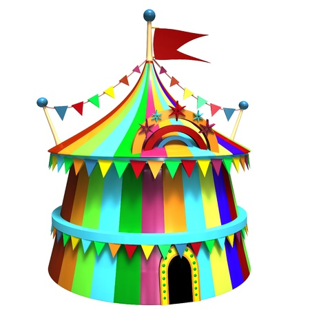 Illustration of a colorful circus tent illustration