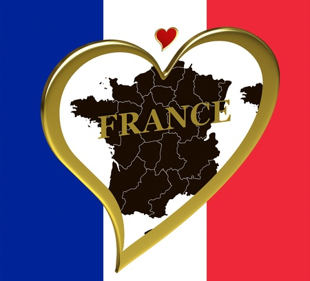 francais: France map in a heart on the background of the flag