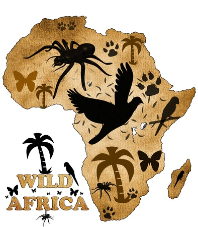 Mapa de �frica, con fotos de animales photo