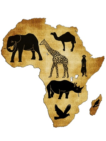 Map of Africa with pictures of animals photo