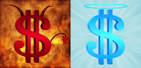 dollar signs: Devilish and angelic dollar signs