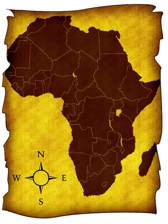 Map of Africa on the old background photo