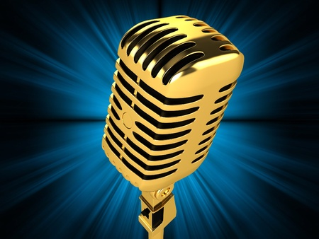 Gold vintage microphone on the background