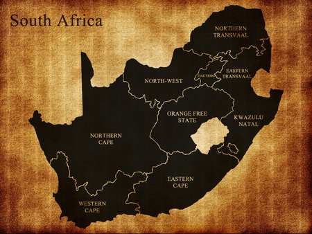 Map of South Africa on the old background photo