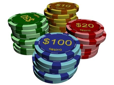 texas hold em: Las pilas de fichas de casino Foto de archivo