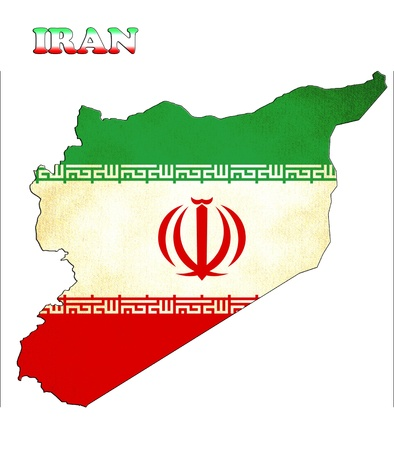 Map of Iran with a flag photo