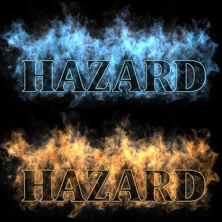 The inscription hazard in a fire photo