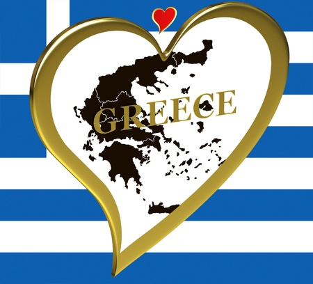 Map of Greece in a heart on the background of the flag photo
