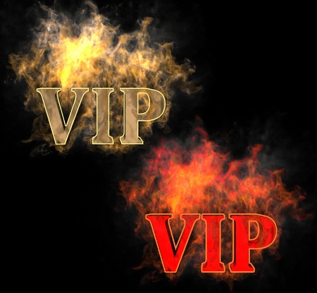 The inscription VIP in the fire photo