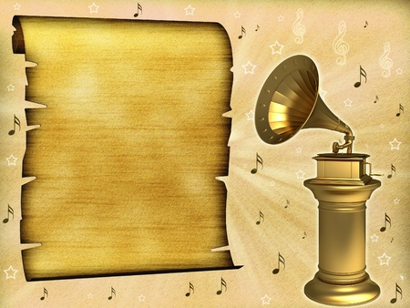 Gramophone on an old background photo