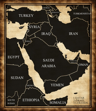 east asia: Map of the Middle East Stock Photo