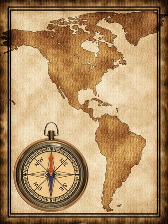 Map with a compass North and South America photo