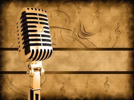 microfono antiguo: Micr�fono de la vendimia en el fondo