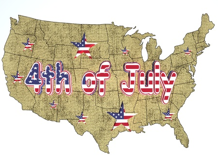 4th of July on the U S A map photo