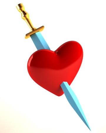 infatuation: The heart pierced with a knife Stock Photo