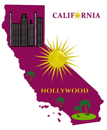 Map of California with sunshine and palm trees photo