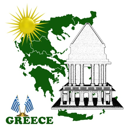 Map of Greece with the temple and the sun photo