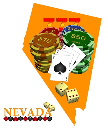 Map of Nevada with chips and cards photo