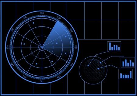 radar: Digital Radar screen in a blue style