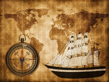 World map with ship Stock Photo - 13120072