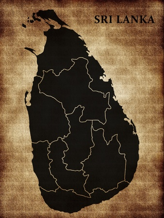 Map of Sri Lanka in old style photo