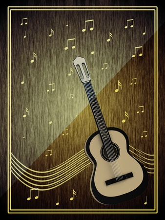 single songs: Abstract background with a guitar Stock Photo