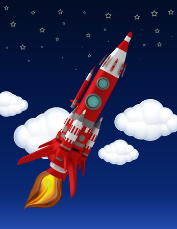 Flying red space ship photo
