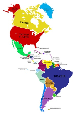 north america: A map North and South America