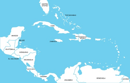 caribbean island: Map of Caribbean Islands Stock Photo