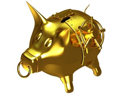Gold piggy bank photo