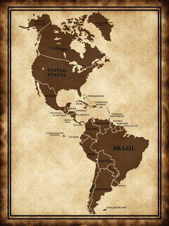colombia: A map North and South America on the old texture Stock Photo