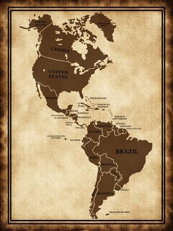 mapa del peru: Un mapa del Norte y América del Sur en la textura de edad