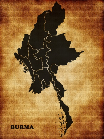Map of Burma on the old texture