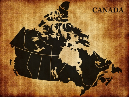 map of canada: Map of Canada on the old texture Stock Photo
