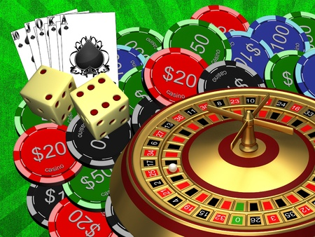 Roulette with the casino chips photo