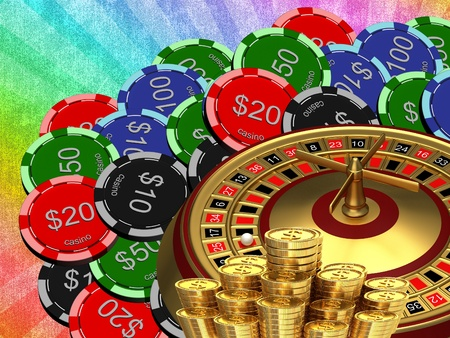 Roulette with the casino chips Stock Photo