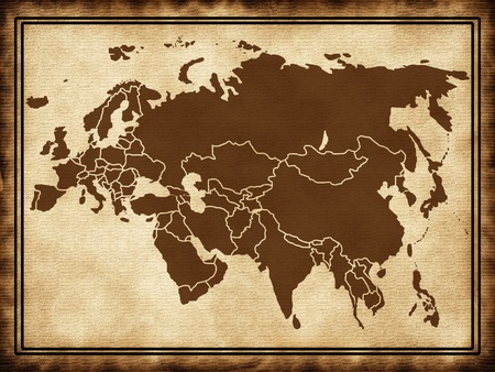 Map of Eurasia on the old texture photo
