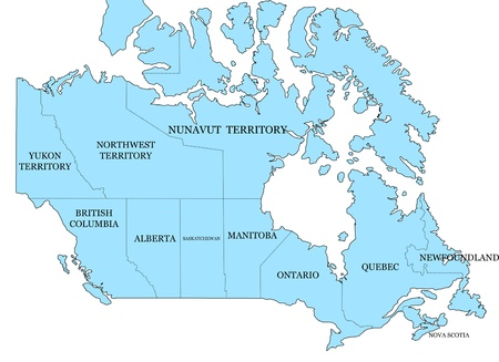 Map of Canada on a white background photo
