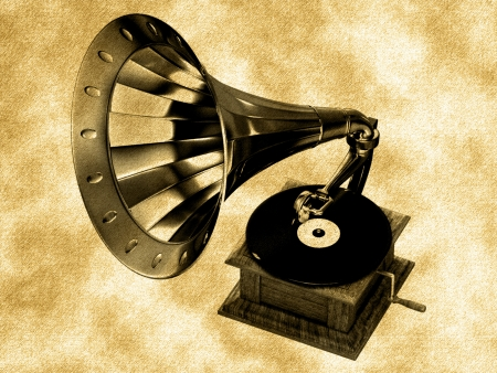 Golden gramophone on the background photo