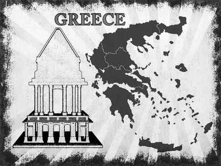 Map of Greece with the temple photo