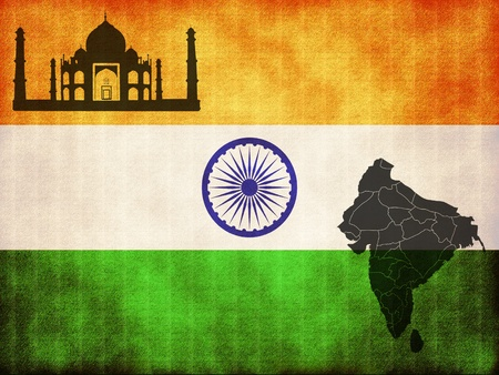 Flag of India map and palace photo