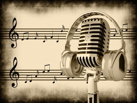 Microphone on an abstract background photo