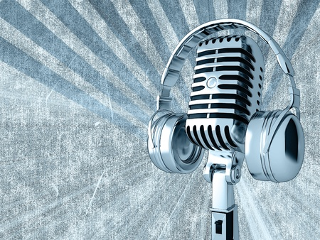 radio: Microphone on an abstract background
