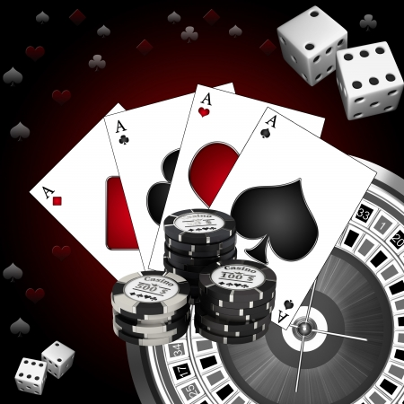 roulette game: Roulette with the casino chips Stock Photo